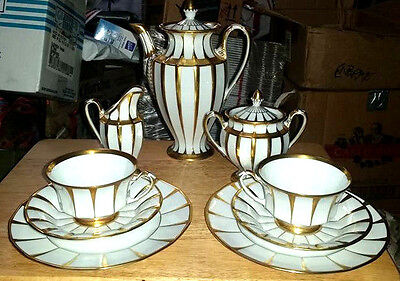 Furstenberg Grecque Athena Gilt Porcelain Cup Saucer Plate Trio and Coffee Set
