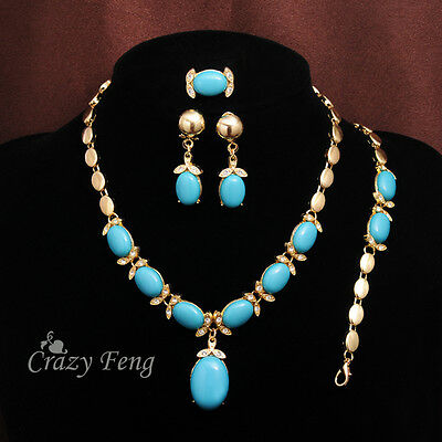 Blue Stone Crystal Necklace Bracelet Earrings Ring Gold-color Jewelry Sets