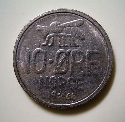 * 1968 Norway 10 Ore Coin,.. Good Circulated Condition *