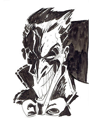 The Joker Batman Villain Original Art Sketch By Artist Kelly Tindall