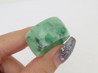 Vintage Untreated Grade A Natural Green Jadeite Jade Unisex Band Ring Size 8.75