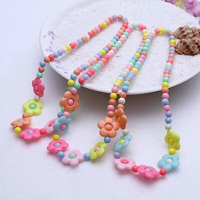 Acrylic Kids Jewelry Candy Colors Bubblegum Flower Shaped Necklace and Bracelet