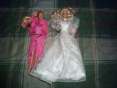 Lot of 2 Vintage 1966 Barbie Dolls & Clothes Made in China