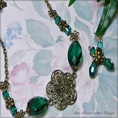 Teal Green antique bronze flower necklace & earrings set, Vintage Style
