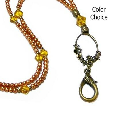 Beaded Lanyard Necklace work id badge holder, Bronze Ring, colour choice