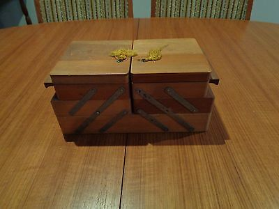 Vintage Retro Small Wooden Cantilever 3 Tier Sewing Box - Craft/jewelry Storage