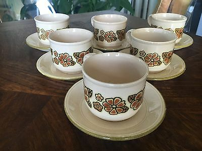 Rare! 1960's Staffordshire Retro Flower Power Cups & Saucers!