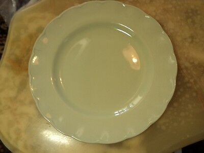 """GRINDLEY ENGLAND ALMOND PETAL 10"""" dinner plate with scalloped rim in mint green"""