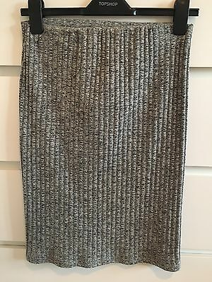Topshop Grey Ribbed Maternity Pencil Skirt, Size 8