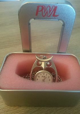 Owl design pendant watch on long chain in gift tin from PWL