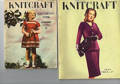 Vintage knitting books KNITCRAFT dating C1940s, one for family, one for children