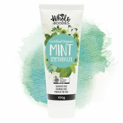 The Whole Boodies Certified Organic Vegan Fluoride Free Toothpaste - Mint 100 ml