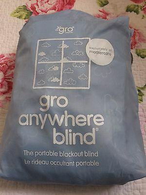 Gro-Anywhere Blackout Blind In Baby Blue, With lovely Cloud Detail.