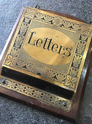VINTAGE WOOD AND BRASS WALL HANGING LETTER RACK - Victorian Edwardian Era