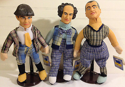 The Three Stooges Play by Play stuffed novelty Set 1999 Excellent w/ Stands
