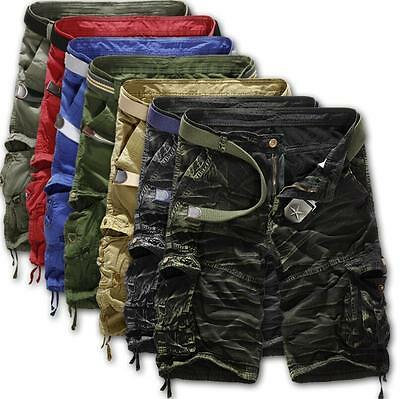 Summer Mens Boys Casual Shorts Pants Trousers Cotton Camo Work Army Combat Cargo