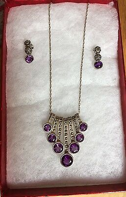 Amethyst And Marcasite Silver Necklace And Earrings