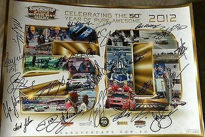 V8 supercars 2012 50th anniversary hrt holden racing team ltd ed poster signed