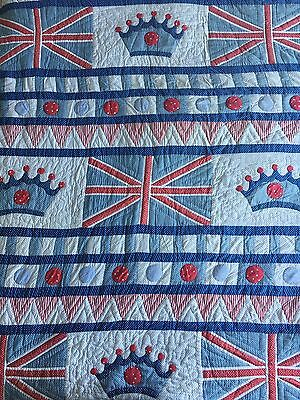 Monsoon Home Kids Bedspread Quilt Cover Boys Union Jack Crown Red White Blue
