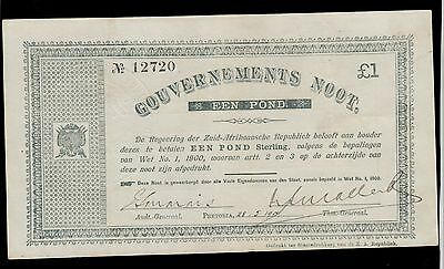 SOUTH AFRICA  1 POUND 1900  GOVERNMENT NOTES  PICK #  54b  XF BANKNOTE.
