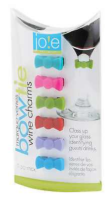 Harold Joie Silicone Bow Tie Drink & Wine Glass Cocktail Party Charms, Set Of 6
