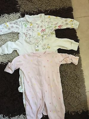 next floral baby girl babygrow sleepsuits
