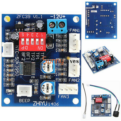 12V PWM PC CPU Fan Temperature Control Speed Controller High-Temp Alarm  Module