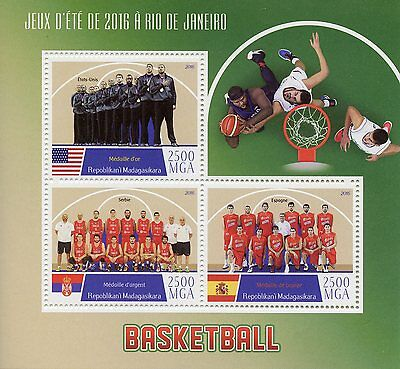 Madagascar 2016 MNH Rio 2016 Summer Olympics Basketball 3v M/S Sports Stamps