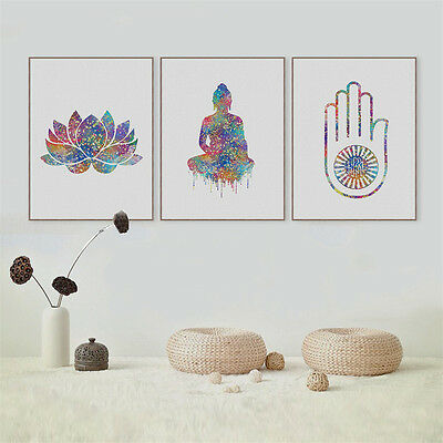 Buddha Lotus Unframed Canvas Painting Wall Hanging Pictures Home Decor 3 Size