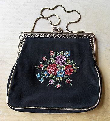 Immaculate Vintage 1950s Austrian Hand Embroidered Black Evening Bag