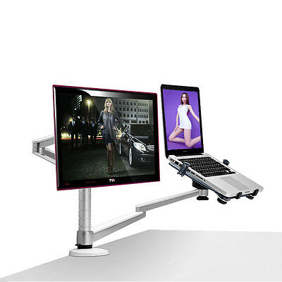 Desktop Dual Monitor Arm Mount 25inch LCD Monitor Holder+ 15 inch laptop holder