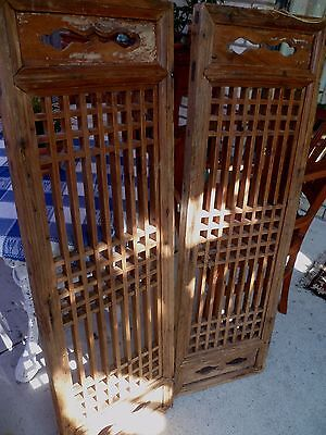 Pair antique Chinese carved panel window screens