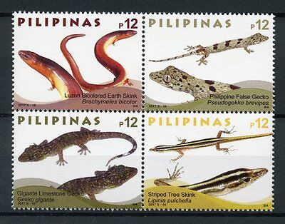Philippines 2017 MNH Lizards Geckos Skinks 4v Block Reptiles Stamps