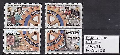 Série 4 timbres Dominique Yvert n° 638/41**, 1980, Rotary