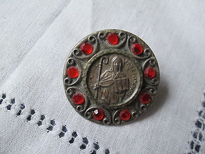 Old vintage pin brooch Sint-Odile with red glass Rhinestone