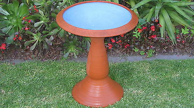 Classic Bird Bath With Vintage Blue Glaze Base Adds Character To Patio/gardn