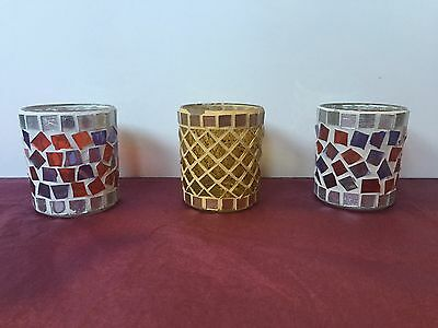 BULK – 3 x Straight Tumbler Mosaic Candle Holder - SOY WAX