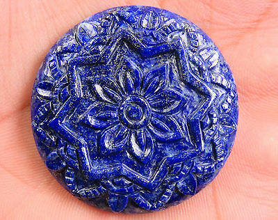 86.5 Cts Natural Lapis Lazuli Carved Mandala Figure 38 mm Hand Crafted Carving