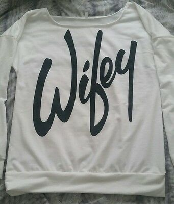 Honeymoon bride to be wifey slouch jumper top off sholder white size 14 wedding