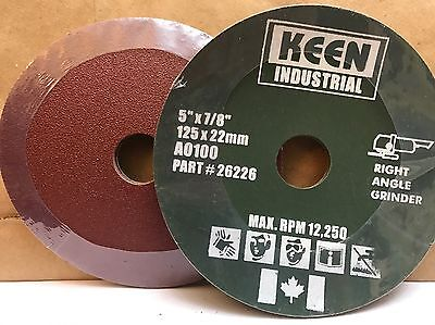 "Case of 100, #26223, 100 Grit 5"" x 7/8"" KEEN Resin Fibre Sanding Discs"
