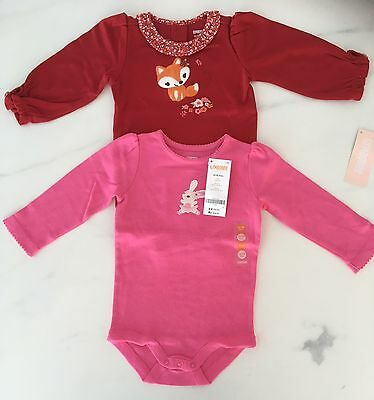 BNWT Baby Girl Gymboree long sleeve bodysuit x2 pink and red size 12-18 months
