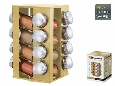 SQ Professional 16 Glass Spice Jar Revolving Spice Rack Stand With Lid Carousel
