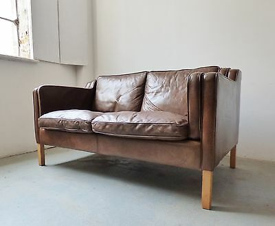 Danish Light Brown Leather 2 Seater Sofa Loveseat By Stouby Vintage