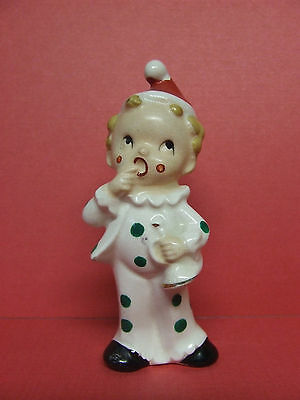 Vintage Christmas Clown Boy w/Polka Dotted Outfit & Santa Hat Figurine (Japan)