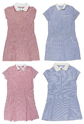 Girls Summer School Dress Summer Blue and Red Various Styles 3-4y to 10-11y