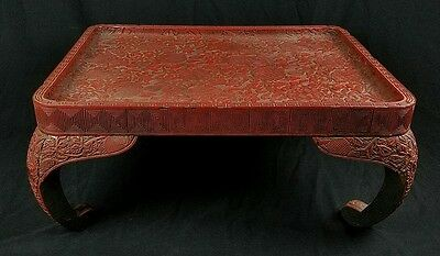 Ext Rare Antique Chinese Cinnabar Lacquer​ Table Stand Lychee Qing Ming Dynasty