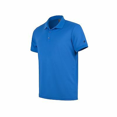 Cross Herren Piqué Funktions Polo Shirt Blau Größe L