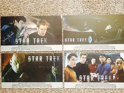 Set of (4) STAR TREK 2009 QVC LOBBY CARDS Signed Zachary Qunito, 50/1701, Nice
