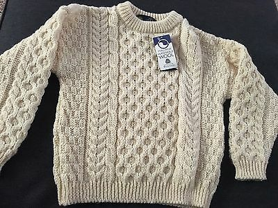 100% Wool Cable Knit Sweater Tivoli Children's Sz 5 To 7 Years 6 Cream Pullover