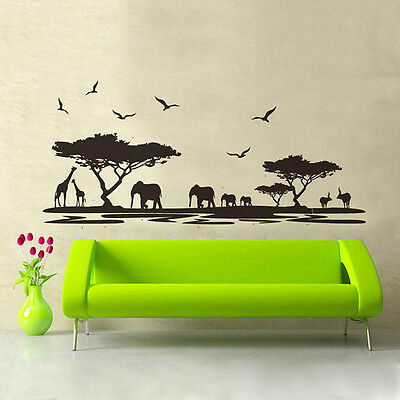 Hot African Animals Wall Sticker Mural Home Decal Removable Art Room Decor DIY